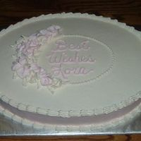 Oval Bridal Shower Cake With Rose Framed Script. This was of the palest pink and champagne white.My friend didn't want much green for leaves so I used the white for the leaves. It&#...