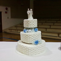 Basket Weave Hearts Wedding Cake This is the wedding cake I did for the Saturday after Thanksgiving. UGH!! Talk about stress. It was for the granddaughter of a good friend...