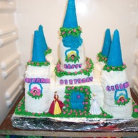 Disney Princess Cake Castle cake made from all cake and buttercream