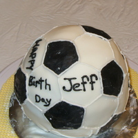 Birthday Soccer Ball Chocolate cake with buttercream,Fondant decorations.