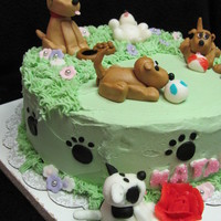 Puppies, Puppies Everywhere!! I made this cake for a special little girl who is turning 6. Its going to be a complete surprise for her. 10' round rainbow cake. She...