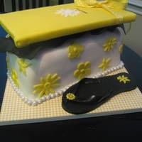 Rhonda's Yellowbox Shoe Box Cake Cake made for an amazing friend of mine. :) Triple Chocolate Cake with Chocolate Chip Cream Cheese Filling. She loves shoes and purses. One...