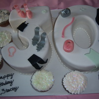 30Th Birthday Cake 30th birthday cake for a shoe and clothes fanatic!!! all sugar paste with some extra cupcakes