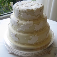 Applique Lace And Pearl Wedding Cake fondant applique lace and royal icing pearls