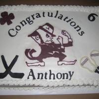 High School Fighting Irish Cake   graduation cake for a friend who played hockey &lacrosse.