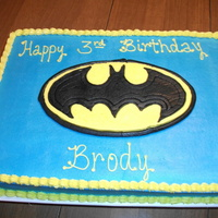 Batman!! Chocolate layers with buttercream icing... Logo is FBCT...Thanks for looking :D