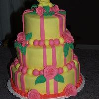 Yellow Rose Tiered Cake