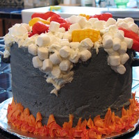 Crawfish Boil 4-layer white and chocolate cake made for my friend's spring break crawfish boil. Icing is buttercream tinted in various colors. The...