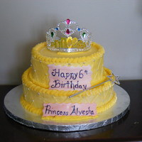 "Princess Birthday 6"" chocolate cake with choco fudge filling and 8"" vanilla cake with strawberry mousse filling. Iced in buttercream.Thanks to CC..."