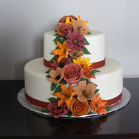 "Autumn Cake 8"" & 6"" dummy cakes covered with fondant and royal icing flowers with fondant roses."