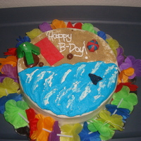 Beach Birthday Bash I am not great yet with molding so I used air heads for the tree top and sharks fin and beach towel. For the coconuts and tree trunk I used...