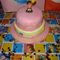 Dora Cake This was my first attempt at a tiered fondant cake. It was done for my daughters 2nd birthday. I used mm fondant and the flowers are sugar...
