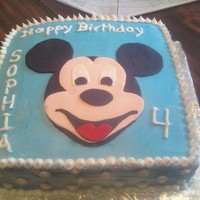 Mickey Mouse Cake Fondant and Gumpast Mickey. I used a picture I found on the internet and cut out the pieces. The icing on the cake is buttercream.