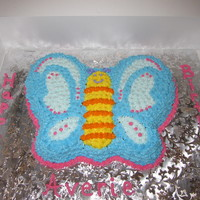 Butterfly Cake This is a funfetti cake with Snow White Buttercream icing. It was made for a friend's daughter's birthday. Kind of old school...