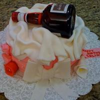 Wine Bottle Cake Everything edible. Bottle from sugar glass. Cap fondant. edible image.