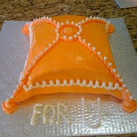 Ladies Party Pillow Cake I made this pillow cake for a ladies party. 2 x 10'' Vanilla eggless cake with lemon buttercream and peaches as filling. All...