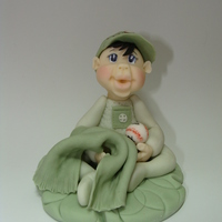 Lil Bebe Green   Hand modeled fondant cake topper.