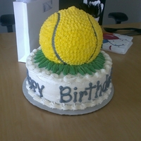 Tennis Ball Birthday cake for my boss he loves tennis.... great ideas from this site