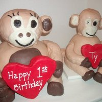 "Monkey 1St Birthday  This was for my friend's sons 1st birthday the small one is modeled after the monkey he carries everywhere this was the cake he ""..."