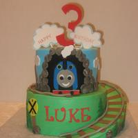 Thomas The Tank Engine   Thomas cake, inspired by so many terrific Thomas cakes on CC!!