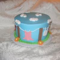 "Clothesline   6"" clothesline cake for a lady who loves clothes."