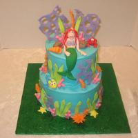 Little Mermaid Little mermaid cake, BC w/ fondant decorations. Ariel, Flounder & Sebastian are gumpaste.