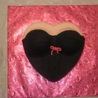 Lingerie   Black lingerie/bustier cake for a friend. All fondant.