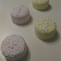 Mini Cakes! Almond cake with raspberry filling and raspberry buttercream icing. MMF.