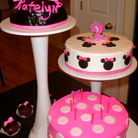 Minnie Mouse Birthday Cake An adorable hot pink & fun minnie mouse cake with 3 tiers. I used the Wilton cake stand. The cake was 3 different flavors with...