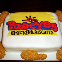 Popeyes Chicken Cake Popeyes Chicken made from sugar fondant molded into chicken shapes, sit to dry, then dipped into peanut butter, and coated with cornflakes...