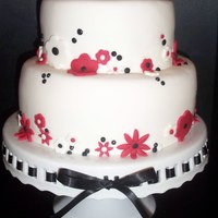 Hot Pink,black And White Birthday Cake