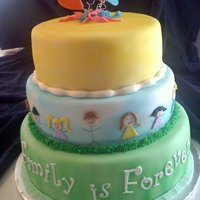Family Is Forever This was for an adoption ceremony. Each layer was different flavors/fillings, all covered in mmf.