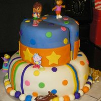 Split Cake For Twins - Dora & Diego Theme I posted awhile ago about this cake. I hadn't seen anyone actually do it but I knew it had to be done before.Well, here is the cake. I...