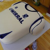 Tranmere Rovers Soccer Jersey   My 1st carved cake AND my 1st cake I painted all details. A replica of their latest jersey. Covered in MMF.