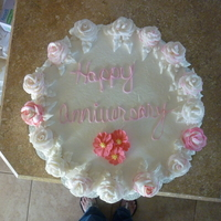 Anniversary Roses Buttercream cake w/ buttercream roses. I made this cake for a friend of a friends anniversary
