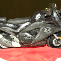 Ride Or Die Bike Made of rice krispies, chocolate, and fondant.
