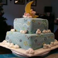Sweet Dreams This was my first cake. I made it for a friends baby shower. It was a White Chocolate Cake with Strawberry Filling. All the decorations are...