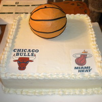 Basketball Cake  For a friend's daughters 16th birthday. She is a Bulls and Heat fan. It is Lemon WASC cake with white chocolate buttercream and a...