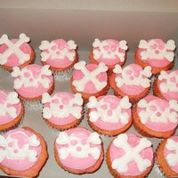 Pink Pirate Cupcakes The cupcakes are topped with buttercream and the skulls and crossbones are made from colorflow icing.