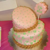 Topsy-Turvey Baby Shower-Girl Covered in fondant and decorated with buttercream.
