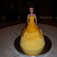 Belle This cake is Fondant and buttercream. Very happy with the way it turned out. It was my first doll cake.