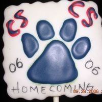 Homecoming Cookie For Katie Well here is another cookie for Kaite. Their school colors are blue and red and they are the cy-springs panthers.