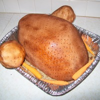 Turkey Cake My attempt at a turkey cake, The legs are a bit too large, but it wasnt bad I guess. Everybody gobbled it up