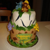 Safari Cake I made this cake for a friends baby shower, it has five hand sculpted animals (fondant) , monkey holding banana, lion, elephant, hippo and...