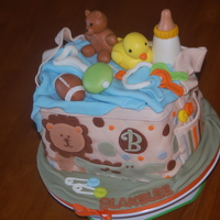 Jungle-Themed Diaper Bag Vanilla/butter cake, buttercream filling, all fondant including 'toys'.