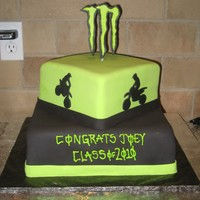 "Monster Energy Grad Cake Cake for a High School Grad who loves Monster Energy & Dirt Bikes! 8"" & 12"" squares, covered in fondant. Dirt Bike..."