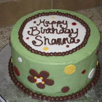 "Retro-Y Birthday Cake 8"" Round, Buttercream with fondant accents."