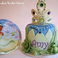 "Princess And The Frog Amy's mom asked me to design a ""Princess & Frog"" birthday cake based on her party plates (blue, green, purple). This is..."