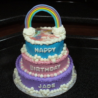 My Little Pony Birthday Cake Three tiered my little pony cake with an edible image.. The rainbow is made from gumpaste.