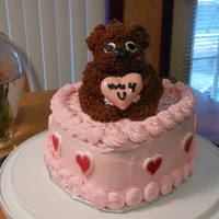 Nutty Squirrel Valentine Cake 2 layered heart shaped cake, covered with buttercream icing and decorations, except for the red hearts on sides. Squirrel is a cake made...